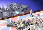6+girls abyssal_ship adapted_costume ark_royal_(kancolle) back-to-back bangs blonde_hair blue_eyes blunt_bangs bob_cut bow_(weapon) braid brown_hair character_request compound_bow crossed_legs crown dress flag_background flower french_braid globus_cruciger gloves hairband hat headgear highres janus_(kancolle) jervis_(kancolle) kantai_collection long_hair long_sleeves machinery messy_hair military military_uniform mini_crown multiple_girls nelson_(kancolle) off-shoulder_dress off_shoulder overskirt red_flower red_neckwear red_ribbon redhead ribbon sailor_dress sailor_hat scepter sheffield_(kancolle) short_hair sitting suke_(share_koube) thigh-highs tiara uniform union_jack warspite_(kancolle) weapon white_dress white_gloves white_headwear white_legwear