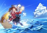 1girl black_skirt blue_sky brown_eyes brown_hair clouds day infini japanese_clothes kantai_collection kariginu long_sleeves magatama miniskirt ocean onmyouji outdoors pleated_skirt ryuujou_(kancolle) scroll shikigami skirt sky solo standing standing_on_liquid twintails visor_cap waves