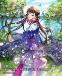 1girl banned_artist braid braided_bun brown_eyes brown_hair bug butterfly cage caterpillar chinese_clothes choker closed_mouth clouds cloudy_sky commentary_request cowboy_shot day dress eyelashes fireflies floating_hair floral_print flower flower_choker frills hair_ornament hanfu insect lens_flare long_hair looking_at_viewer looking_back midori_foo nature official_art original outdoors petals pink_dress pink_flower pink_rose pond rose see-through see-through_shawl shawl shiny shiny_hair sidelocks sky snake solo spider standing translation_request tree tsurime very_long_hair water white_dress white_snake wide_sleeves