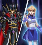 1boy 1girl angry black_armor black_helmet blonde_hair blue_skirt creepy cyber_angel_vishnu dark_background dark_persona deviantart_username duel_academy_uniform_(yu-gi-oh!_gx) fighting_stance holding_card scary sincity2100 supreme_king_(yuu-gi-ou_gx) tenjouin_asuka yellow_eyes yu-gi-oh! yuu-gi-ou yuu-gi-ou_gx yuuki_juudai