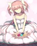 1girl :> alternate_costume aqua_flower aqua_rose bare_arms black_flower black_rose blush bouquet breasts bubble_skirt bud buttons closed_mouth collarbone dress eyebrows_visible_through_hair flower frills furrowed_brow goddess_madoka hair_between_eyes hair_ribbon half-closed_eyes hands_on_lap head_tilt holding holding_bouquet kaname_madoka leaf light_smile long_dress long_hair looking_up mahou_shoujo_madoka_magica pink_background pink_flower pink_hair polka_dot polka_dot_background purple_flower purple_rose red_flower red_rose ribbon rose simple_background skirt sleeveless sleeveless_dress small_breasts solo spaghetti_strap straight_hair tandemu two_side_up v_arms very_long_hair white_dress white_flower white_ribbon yellow_eyes yellow_flower yellow_rose