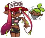 1boy 1girl ^_^ aliasing annoyed bandana bandana_over_mouth baseball_cap bike_shorts breasts closed_eyes closed_mouth clothes_writing cowboy_shot cropped_legs dark-skinned_female dark-skinned_male dark_skin green_hair grey_shirt hair_tie happy hat inkling inkling_(language) long_hair looking_down notice_lines paint paint_on_clothes pink_eyes pink_hair pointy_ears red_headwear shiny shiny_skin shirt short_hair short_sleeves sideways_mouth small_breasts solo_focus speech_bubble splatoon_(series) splatter suction_cups tentacle_hair tentacles tied_hair topknot twintails v-shaped_eyebrows vilepluff