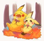 :o autumn closed_eyes commentary_request eating fang gen_1_pokemon gen_2_pokemon highres holding kikuyoshi_(tracco) mouth_drool no_humans open_mouth pichu pikachu pokemon pokemon_(creature) signature sitting skin_fang toes tongue upper_teeth