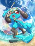 absurdres air_bubble bubble clouds commentary_request day fangs from_below gen_4_pokemon goggles highres holding holding_innertube innertube nullma open_mouth outdoors pokemon pokemon_(creature) riolu sky snorkel solo standing tongue wading water water_drop