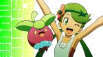 1girl ;d arms_up bangs bare_arms bounsweet collarbone commentary_request copyright_name eyelashes flower gen_7_pokemon green_hair grey_overalls hair_flower hair_ornament highres kuroki_shigewo looking_at_viewer mallow_(pokemon) one_eye_closed open_mouth overalls pokemon pokemon_(anime) pokemon_(creature) pokemon_sm_(anime) smile swept_bangs tongue twintails upper_teeth white_background