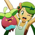 1girl ;d arms_up bangs bare_arms bounsweet collarbone commentary_request eyelashes flower gen_7_pokemon green_hair grey_overalls hair_flower hair_ornament highres kuroki_shigewo looking_at_viewer mallow_(pokemon) one_eye_closed open_mouth overalls pokemon pokemon_(anime) pokemon_(creature) pokemon_sm_(anime) simple_background smile swept_bangs tongue twintails upper_teeth white_background