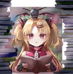 1girl akatsuki_uni bat blonde_hair blurry blurry_background blush book book_stack fingerless_gloves gloves hair_ornament hairclip highres indie_virtual_youtuber kayon_(touzoku) library looking_at_viewer portrait reading red_eyes solo sweatdrop table