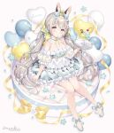 1girl animal_ear_fluff animal_ears balloon bare_shoulders blush bow brown_hair cherry closed_mouth commentary crown double_scoop dress english_commentary fishnet_legwear fishnets flower food fruit full_body grey_background grey_bow grey_dress grey_footwear heart_balloon highres holding holding_tray ice_cream long_hair low_twintails mini_crown off-shoulder_dress off_shoulder original pantyhose puffy_short_sleeves puffy_sleeves rabbit_ears see-through see-through_sleeves shoes short_sleeves signature simple_background sitting solo tray twintails twitter_username very_long_hair violet_eyes wasabi_(sekai) white_flower