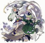 2girls arm_up bangs blue_footwear blue_headwear blue_skirt boots collar detached_sleeves dress eyebrows_visible_through_hair flying ghost_tail green_dress green_eyes green_hair grey_eyes grey_hair hair_between_eyes hand_up hands_up hat japanese_clothes kariginu long_hair long_sleeves looking_to_the_side mononobe_no_futo multiple_girls open_mouth pom_pom_(clothes) ponytail purple_background shirt skirt smile soga_no_tojiko standing syuri22 touhou white_background white_shirt wide_sleeves yellow_background