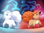 alolan_form alolan_vulpix blue_background brown_fur commentary_request dual_persona fire full_body gen_1_pokemon gen_7_pokemon gradient gradient_background highres ice multiple_tails ninetales no_humans pokemon pokemon_(creature) red_background side-by-side silhouette tail vulpix white_fur yomitrooper