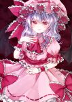bat_wings brooch commentary_request eyebrows_visible_through_hair frilled_cuffs frilled_hat frilled_shirt frilled_shirt_collar frilled_skirt frilled_sleeves frills hand_on_own_chest hand_on_own_leg hat jaku_sono jewelry light_purple_hair looking_at_viewer medium_hair mob_cap pink_eyes puffy_short_sleeves puffy_sleeves purple_shirt purple_skirt remilia_scarlet ribbon-trimmed_skirt ribbon_trim shirt short_sleeves skirt skirt_set touhou wings wrist_cuffs