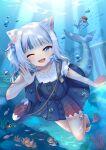 1girl ;d absurdres animal_ears bag bangs bloop_(gawr_gura) blue_eyes blue_hair blue_skirt blunt_bangs bubba_(watson_amelia) buttons cat_ears death-sensei_(mori_calliope) fish_tail freediving frilled_sleeves frills full_body gawr_gura hair_cubes hair_ornament handbag highres hololive hololive_english kotori_(takanashi_kiara) looking_at_viewer medium_hair mihanada_kanata miniskirt multicolored_hair one_eye_closed open_mouth sandals shark_girl shark_tail sharp_teeth shirt short_sleeves side_ponytail sidelocks silver_hair skirt skirt_set smile solo streaked_hair suspenders tail tako_(ninomae_ina'nis) teeth underwater virtual_youtuber waving white_shirt