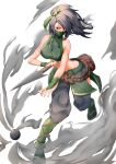1girl absurdres akali arm_tattoo bare_shoulders belt_pouch black_hair breasts bridal_gauntlets clothing_cutout crop_top dagger eyebrows_visible_through_hair floating_hair full_body green_ribbon hair_ribbon highres holding holding_dagger holding_weapon knife kunai league_of_legends long_hair looking_at_viewer mask midriff mouth_mask ninja ninja_mask pharamacom ponytail pouch red_eyes ribbon rope_belt smoke smoke_grenade solo tattoo weapon