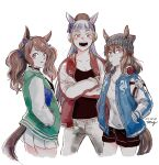 3girls :d alternate_costume animal_ears bangs beanie blue_eyes blue_jacket blunt_bangs brown_hair candy commentary_request cowboy_shot crossed_arms dated ear_bow ear_covers ear_ornament food gold_ship_(umamusume) green_jacket grey_headwear hair_ribbon hands_in_pockets hat headphones headphones_around_neck horse_ears horse_girl horse_tail jacket letterman_jacket lollipop long_hair looking_at_viewer looking_back medium_hair miniskirt mouth_hold multiple_girls nakayama_festa_(umamusume) open_clothes open_jacket open_mouth pants pillbox_hat pleated_skirt red_eyes red_jacket ribbon shorts signature simple_background skirt smile tail teeth tosen_jordan_(umamusume) twintails umamusume uzaki_(jiro) white_background white_hair