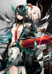 2girls arknights bangs bare_shoulders black_coat black_hair coat commentary_request cowboy_shot dress dusk_(arknights) grey_eyes hair_over_one_eye highres holding holding_sword holding_weapon horns long_hair looking_at_viewer multiple_girls nian_(arknights) off_shoulder open_clothes open_coat parted_lips pencil_dress pointy_ears red_eyes sakusyo short_dress siblings silver_hair sisters smile standing sword weapon white_dress