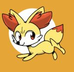 animal_focus closed_mouth fennekin from_side full_body gen_6_pokemon happy jumping looking_back no_humans orange_background pokemon pokemon_(creature) red_eyes simple_background smile solo two-tone_background vilepluff