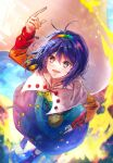 1girl arm_up bag bangs belt blue_dress blue_hairband blue_sky boots bow brown_belt buttons cloak cloud_print clouds cloudy_sky collar dress eyebrows_visible_through_hair fire flying green_dress green_hairband hair_between_eyes hairband hand_up highres long_sleeves looking_up multicolored multicolored_clothes multicolored_dress multicolored_hairband open_mouth orange_dress orange_hairband pink_dress pink_hairband purple_dress purple_footwear purple_hair rainbow_gradient red_dress red_hairband shometsu-kei_no_teruru short_hair sky sky_print smile tenkyuu_chimata touhou violet_eyes white_bow white_cloak yellow_dress yellow_hairband