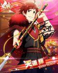 cape character_name dress idolmaster idolmaster_side-m red_eyes redhead short_hair smile spear tendou_teru