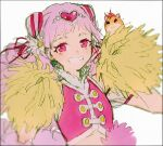 1girl buttons clover_earrings crop_top cure_yell detached_sleeves double_bun four-leaf_clover_earrings grin hair_ornament hakusai_(tiahszld) hamster harryham_harry heart heart_hair_ornament holding holding_pom_poms hugtto!_precure long_hair looking_at_viewer magical_girl nono_hana pink_eyes pink_hair pink_vest pom_pom_(cheerleading) precure puffy_short_sleeves puffy_sleeves short_bangs short_sleeves smile solo two_side_up upper_body vest