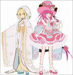 2girls ahoge alternate_costume aqua_footwear bangs blue_eyes corset elizabeth_bathory_(fate) elizabeth_bathory_(fate)_(all) fate/extra fate/extra_ccc fate/grand_order fate_(series) flower gloves gradient_kimono green_eyes hakusai_(tiahszld) hat high_heels holding holding_microphone japanese_clothes kimono lace-trimmed_kimono lace_trim layered_skirt long_hair long_sleeves microphone multiple_girls nero_claudius_(bride)_(fate) nero_claudius_(fate) obi obijime okobo pink_flower pink_footwear pink_hair pink_rose rose sash shiromuku shoes skirt striped striped_headwear tabi top_hat two_side_up uchikake very_long_hair white_gloves white_kimono white_legwear wide_sleeves yellow_sash