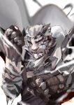 1boy absurdres arknights awa_sakana black_fur black_shirt brass_knuckles cape chain clenched_teeth commentary_request furry highres korean_commentary looking_at_viewer male_focus mountain_(arknights) parted_lips scar_on_arm shirt signature solo teeth upper_body weapon white_background white_cape white_fur