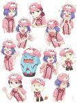 1boy 1girl angry bewear blue_eyes blush bored gen_1_pokemon gen_2_pokemon gen_7_pokemon green_eyes happy highres james_(pokemon) jessie_(pokemon) meowth pokemon pokemon_(anime) pokemon_(creature) sad surprised team_rocket tsukino_mi wobbuffet