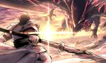 1boy armor battle claws dragon fairy_knight_lancelot_(fate) fate/grand_order fate_(series) from_behind highres holding holding_polearm holding_spear holding_weapon kan_(aaaaari35) motion_blur percival_(fate) polearm spear sun weapon