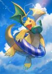 :d blurry brown_eyes chromatic_aberration claws clouds commentary_request day dragonite flying gen_1_pokemon goggles goggles_around_neck highres innertube kikuyoshi_(tracco) looking_to_the_side open_mouth outdoors pokemon signature sky smile snorkel tongue