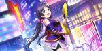 blush fan green_eyes long_hair love_live!_school_idol_festival_all_stars purple_hair smile toujou_nozomi twintails yukata