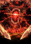 animal arondight_(fate) battle battlefield dog excalibur_galatine_(fate) fairy_knight_gawain_(fate) fangs fate/grand_order fate_(series) fire gawain_(fate) glowing glowing_eyes glowing_mouth kan_(aaaaari35) lancelot_(fate/grand_order) oversized_animal sword weapon