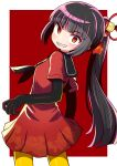 1girl bangs black_gloves black_hair black_sailor_collar bow character_request commentary_request dohna_dohna dress elbow_gloves evil_grin evil_smile eyebrows_visible_through_hair gloves grin hair_ornament highres looking_at_viewer looking_to_the_side naga_u pantyhose pleated_dress ponytail red_bow red_dress red_eyes sailor_collar sailor_dress sharp_teeth short_sleeves slit_pupils smile solo teeth two-tone_background uneven_eyes white_background yellow_legwear