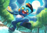 clouds commentary_request croagunk day from_below gen_4_pokemon highres kikuyoshi_(tracco) leg_up open_mouth outdoors pokemon pokemon_(creature) puddle rain sky solo standing standing_on_one_leg sun toes tongue tree upper_teeth