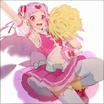 1girl :d armpits back_bow bow cheerleader crop_top cure_yell detached_sleeves double_bun flower hair_flower hair_ornament hair_ribbon hakusai_(tiahszld) heart heart_hair_ornament holding holding_pom_poms hugtto!_precure long_hair looking_at_viewer magical_girl midriff nono_hana open_mouth pink_bow pink_eyes pink_footwear pink_hair pink_ribbon pink_skirt pink_vest pleated_skirt pom_pom_(cheerleading) precure puffy_short_sleeves puffy_sleeves ribbon see-through_sleeves shoes short_bangs short_sleeves skirt smile sneakers solo thigh-highs vest white_legwear