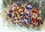 absurdres ahoge animal_ear_fluff animal_ears backpack bag bamboo bead_necklace beads blonde_hair coconut coin_hair_ornament diona_(genshin_impact) dress drinking_straw eating genshin_impact gloves grass green_eyes hat hat_feather highres jewelry jiangshi klee_(genshin_impact) long_sleeves low_twintails necklace open_mouth outdoors pink_hair pointy_ears purple_dress purple_hair qing_guanmao qiqi_(genshin_impact) red_dress red_eyes red_headwear sanktkaisersavia shorts sitting tied_hair twintails violet_eyes white_legwear wide_sleeves