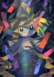 closed_mouth colored_skin commentary_request gen_3_pokemon grey_skin highres jirachi kikuyoshi_(tracco) leaf looking_at_viewer mythical_pokemon no_humans outstretched_arms paper pokemon pokemon_(creature) ribbon signature smile solo water_drop