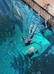 1girl 1other artist_name commentary_request demizu_posuka fish highres original ripples shark shorts sleeveless sweat swimming water_surface