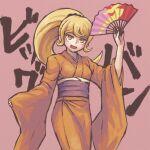 1girl :d alternate_hairstyle bangs blonde_hair blush_stickers breasts commentary_request cowboy_shot dangan_ronpa_(series) dangan_ronpa_2:_goodbye_despair folding_fan hair_ornament hand_fan holding holding_fan japanese_clothes kimono long_hair looking_at_viewer medium_breasts namu_(nurui_cha) obi open_mouth orange_eyes pink_background ponytail saionji_hiyoko sash smile solo translation_request wide_sleeves yellow_eyes