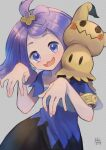 1girl acerola_(pokemon) armlet bangs blue_dress commentary_request dress elite_four flipped_hair gen_7_pokemon grey_background grey_dress hair_ornament hairclip hands_up highres kikuyoshi_(tracco) looking_at_viewer medium_hair mimikyu multicolored multicolored_clothes multicolored_dress open_mouth pokemon pokemon_(creature) pokemon_(game) pokemon_sm purple_hair short_sleeves signature smile tongue topknot torn_clothes torn_dress