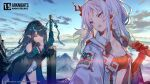 2girls angry arknights blue_hair blue_sky clouds cloudy_sky commentary_request dusk dusk_(arknights) earrings english_text holding holding_sword holding_weapon horns jacket jewelry multiple_girls nian_(arknights) official_art open_clothes open_jacket pointy_ears red_eyes siblings sisters sky sutorora sword violet_eyes weapon white_hair