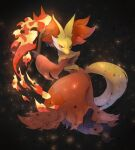 animal_ear_fluff blurry closed_mouth commentary_request delphox embers fire gen_6_pokemon highres holding holding_stick kikuyoshi_(tracco) looking_back orange_eyes pokemon pokemon_(creature) smile solo stick