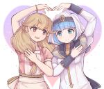2girls apron blonde_hair blue_eyes blue_hair bow braid brown_eyes closed_mouth dress faye_(fire_emblem) fire_emblem fire_emblem_echoes:_shadows_of_valentia heart_arms_duo highres kutabireta_neko looking_at_another multiple_girls open_mouth pink_bow pink_dress silque_(fire_emblem) smile white_dress white_headwear