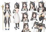 1girl :d absurdres all_fours angry animal_ear_fluff animal_ears arm_support backless_dress backless_outfit bare_shoulders black_bow black_choker black_legwear blue_eyes blue_footwear blush bow breasts brown_hair cat_ears cat_tail choker closed_eyes closed_mouth cold cross crying detached_sleeves dress expressions flower flying_sweatdrops hair_flower hair_ornament head_tilt highres holding holding_scepter long_hair long_sleeves looking_at_viewer medium_breasts multiple_views nekoze_(s22834712) notice_lines open_mouth original own_hands_together pelvic_curtain pigeon-toed praying scepter shoes side_slit simple_background sipping smile tail tail_raised tears thigh-highs tu_ya_(nekoze) very_long_hair white_background white_dress