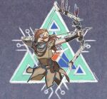absurdres aloy_(horizon) beaded_necklace beads belt bow_(weapon) braid cowboy_shot earpiece facing_to_the_side freckles hair_beads hair_ornament hairlocs highres holding holding_bow_(weapon) holding_weapon horizon_zero_dawn huge_filesize jewelry looking_away multiple_braids necklace pelt readying_weapon roviahc tribal_symbol utility_belt weapon