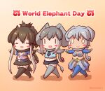 0_0 3girls african_elephant_(kemono_friends) animal_ears bikini blush_stickers brown_hair chibi closed_mouth coroha cropped_shirt detached_sleeves elbow_gloves elephant_ears elephant_girl elephant_tail english_text full_body gloves grey_hair holding holding_weapon indian_elephant_(kemono_friends) japari_symbol kemono_friends mammoth_(kemono_friends) midriff multicolored_hair multiple_girls navel necktie open_mouth outstretched_arms scarf shirt shorts side-by-side skirt sleeveless sleeveless_shirt smile spread_arms stomach swimsuit tail tan thigh-highs twitter_username two-tone_hair walking weapon white_hair zettai_ryouiki |_|