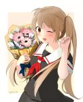 1girl absurdres bangs black_serafuku black_skirt blush bouquet brown_eyes chagen_kokimu dated eyebrows_visible_through_hair flower highres holding holding_bouquet kantai_collection light_brown_hair long_hair murasame_(kancolle) one_eye_closed open_mouth pink_flower pleated_skirt red_neckwear sailor_collar school_uniform serafuku short_sleeves simple_background skirt solo tulip twintails two-tone_background white_flower