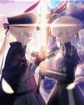 2girls absurdres ahoge armor armored_dress artoria_pendragon_(caster)_(fate) artoria_pendragon_(fate) bangs black_gloves blonde_hair blue_dress blue_headwear blue_ribbon braid closed_eyes closed_mouth clouds commentary_request dress excalibur_(fate/stay_night) eyebrows_visible_through_hair fate/grand_order fate/stay_night fate_(series) french_braid gauntlets gloves glowing glowing_weapon hair_ribbon hat highres holding holding_staff holding_sword holding_weapon juliet_sleeves long_hair long_sleeves multiple_girls nayu_tundora puffy_sleeves ribbon short_hair sky smile staff sword weapon white_dress