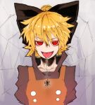 1girl black_bow blonde_hair bow brown_shirt bug buttons double-breasted hair_bow kurodani_yamame looking_at_viewer orange_vest popped_collar red_eyes reiga_(act000) saliva shirt smile solo spider tongue tongue_out touhou vest