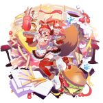 1girl bacon bell burger coffee dress fangs fate/grand_order fate_(series) food french_fries highres ketchup lostroom_outfit_(fate) mini_flag mustard neck_bell one_eye_closed pancake parfait pink_hair roller_skates skates striped striped_dress sugar_cube tamamo_(fate) tamamo_cat_(fate) tetsu_(teppei) thigh-highs tray