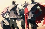 4others absurdres alphastella armor black_gloves black_pants black_skin black_tunic bowing cape colored_skin gloves hand_on_hip highres long_hair mask mohawk multiple_others pants red_cape sky:_children_of_the_light solid_circle_eyes tunic white_eyes white_hair