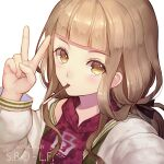 1girl bangs blonde_hair food food_in_mouth hair_between_eyes hood hoodie jacket letterman_jacket lf_(paro) long_hair long_sleeves looking_at_viewer pocky pocky_day portrait reality_arc_(sinoalice) red_hoodie red_riding_hood_(sinoalice) selfie simple_background sinoalice solo v white_background yellow_eyes
